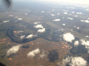 Aerial view flying in to Mildura