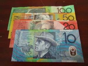 Colourful Australian money