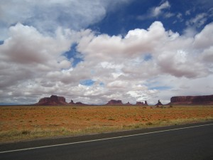 Monument Valley through the windscreen