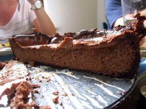 Half-eaten cheesecake