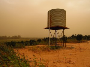 Water tank in the dust storm