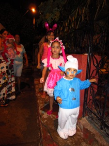 Trick or treaters in the street