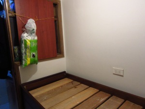 The live-in help's bedroom turned storeroom